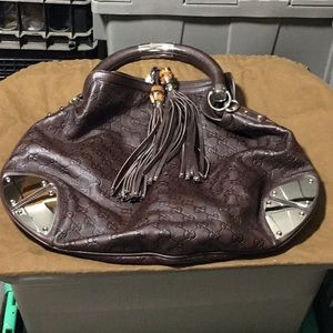 Gucci handbag with bamboo tassels & chrome AS-IS
